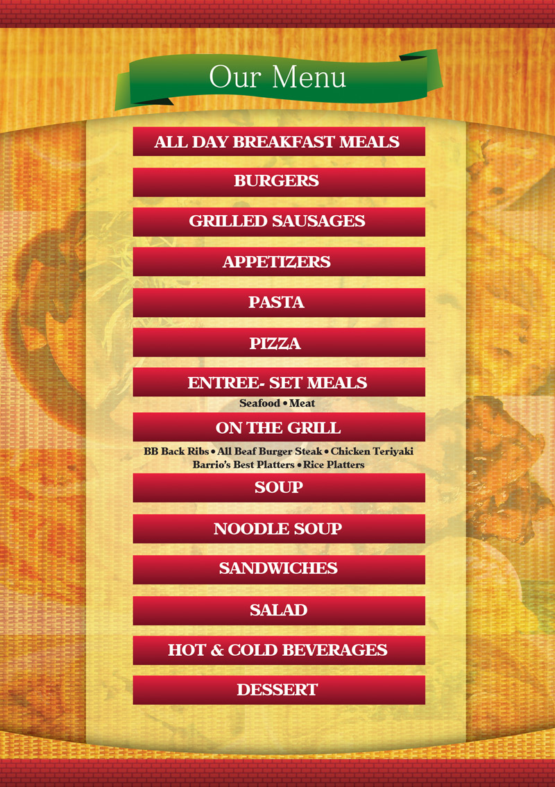 barrio bistro - MENU