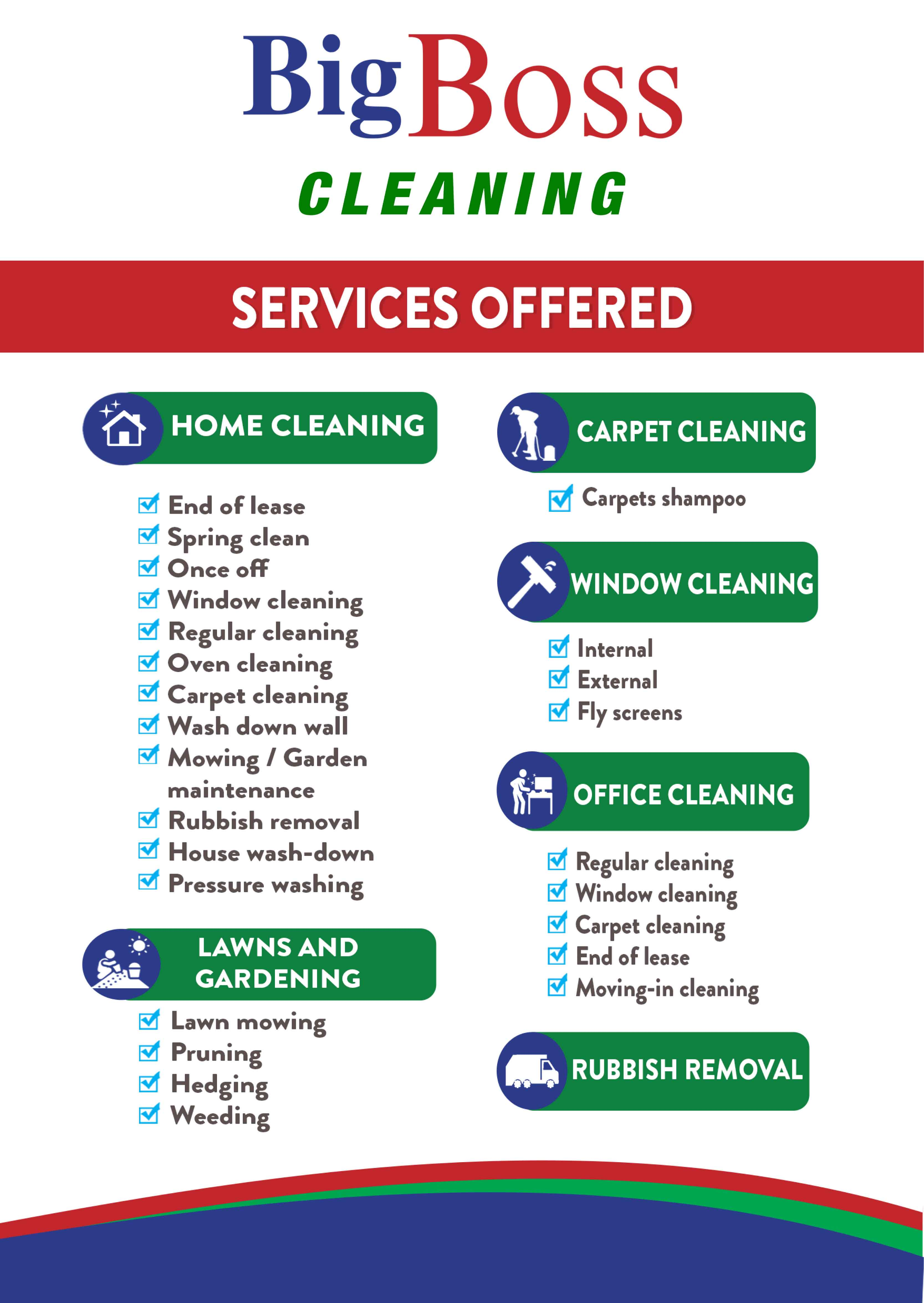 big boss cleaning - services